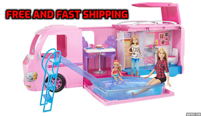 Barbie Dream RV Camper Fully Furnished Camping Playset Kids Play Toy Gift Girl