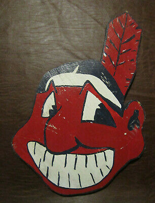 vintage 1980s CHIEF WAHOO Cleveland Indians wood cut out baseball mascot logo VG
