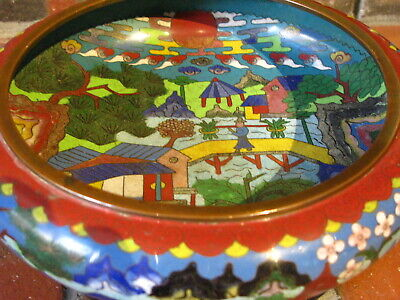Large Chinese Cloisonne Bowl with Ming Dynasty Mark Gorgeous!
