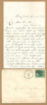 Vintage 1874 Letter GREENVILLE PA to NORWAY NY ~ Job Offer, Missed Meeting in PA