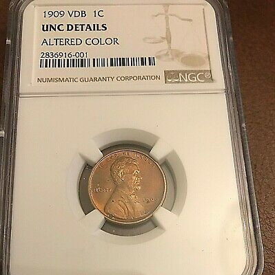 1909 VDB Lincoln Wheat Penny NGC UNC Details Altered Color