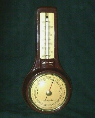 """Vintage Antique Airguide Barometer Thermometer Burgundy/Brown - Retro 8""""H"""