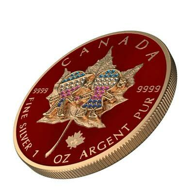 Canada 2019 5$ Maple Leaf Valentine's Day 1 Oz Bejeweled Silver Coin 500pcs