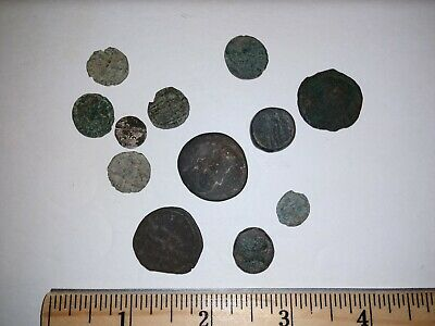 Lot Of 12 Uncleaned Ancient Coins - Mostly Roman?