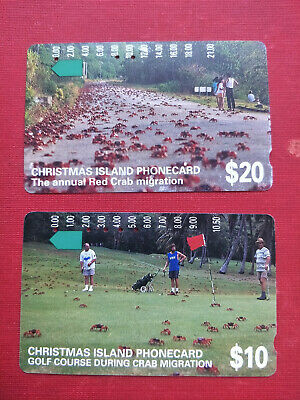 Used $10 & $20 Christmas Island Red Crab Migration Phonecards Prefix 518 & 553