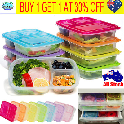 20X Meal Prep Containers 3-Compartment Lunch Boxes Food Storage Lids Portable G