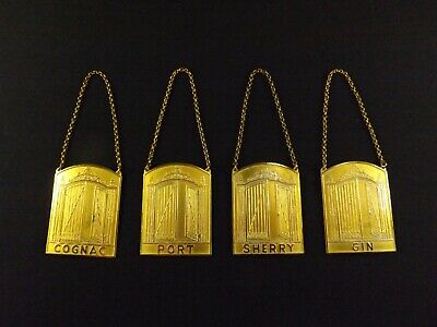 Rare Set of Four Sporrongs Decanter Tags Whiskey Bottle Bar Tags Art Deco Gold W