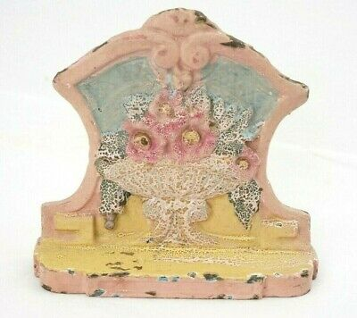 Antique Cast Iron Flower Basket Door Stop Marked # 74 Five 1/2 Inches Tall
