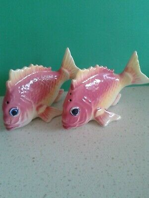 Vintage pink/lemon fish salt and pepper shakers-original cork stoppers -Japan