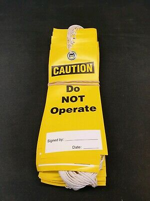 50 pack of Caution Do Not Operate Yellow Safety Lockout Tags B&S Printing
