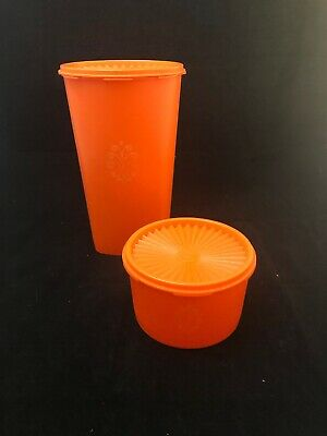 Vintage orange large Tupperware container.  1970's in Good Condition.
