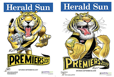 2017 & 2019 Afl Premiers Richmond Tigers Weg Mark Knight Premiership Poster