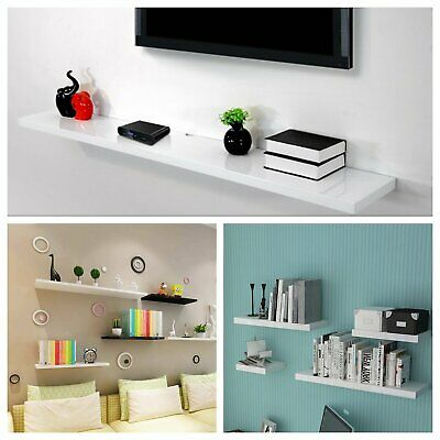 60cm High Gloss Floating Wall Shelf Heavy Duty Bookshelf Storage Display Shelves
