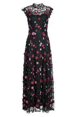 Lela Rose 2019 New 3D Embroidered Floral Lace Dress $2690, sz 12 US