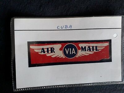 Cuba  Air  Mail  Label In Stanley Gibbons Clear Plastic Sleeve