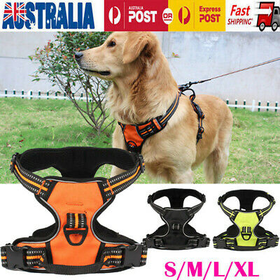 Dog Pet No-Pull Harness Reflective Outdoor Safety Vest 3M W/ Padded Handle Leash