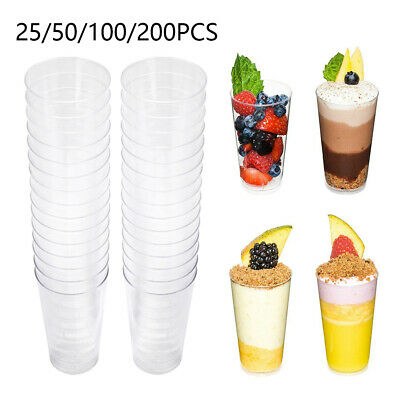 50/100 Mini Plastic 3oz Dessert Drink Shooters Jelly Cups Shot Glass Party Decor