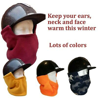 Riding hat ear warmers winter face neck snood fleece horses dogs cats skulls