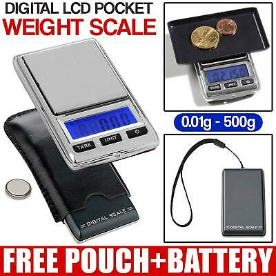 NEW  500g 0.01 DIGITAL POCKET SCALES JEWELLERY ELECTRONIC MILIGRAM MICRO MG