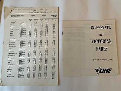 VLine Fares & timetable 1985 x 2 (good condition)