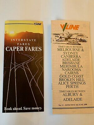 VLine Fares And Timetable Brochures 1990 x 2 (excellent condition)