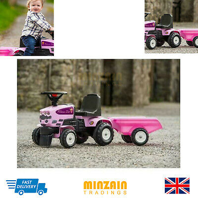 New Baby Princess Sit & Ride Tractor And Trailer Set Outdoor Toy Farmers Vehicle