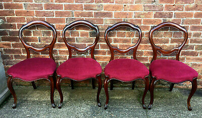 Set of Four Quality Victorian Solid Mahogany Balloon Back Chairs, Nice Upholstry