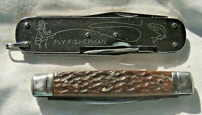 Vintage 2 Pen knives Marbles Fly Fishing & C.K Continental Bone handle .