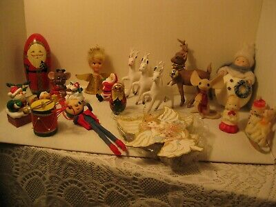 Mixed Lot Vintage Christmas Ornaments  Deer Decorations + More