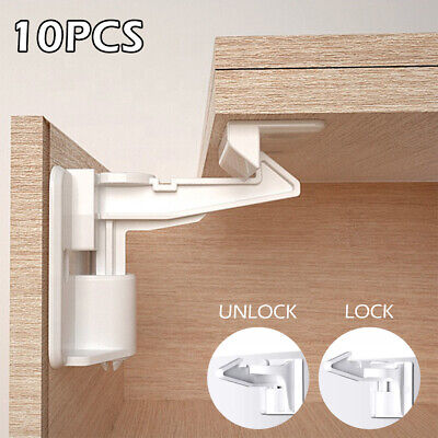 10X Invisible Child Baby Safety Locks Pets Proof Cupboard Cabinet Drawer Latches