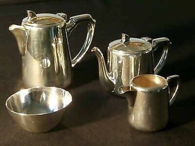 Silver plated 4 piece art deco tea set Tea pot water pot milk jug and sugar bowl
