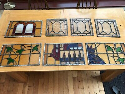 1930s Stained Glass Leaded Windows 7 Pieces