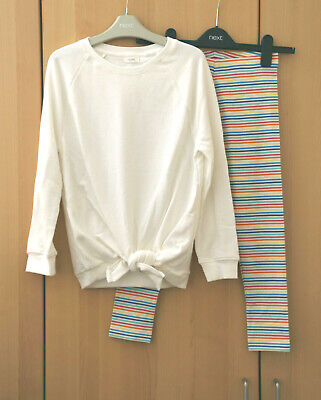 Next Girls White Front Tie Knot Jumper & Rainbow Stripe Leggings Age 9 Yrs BNWT