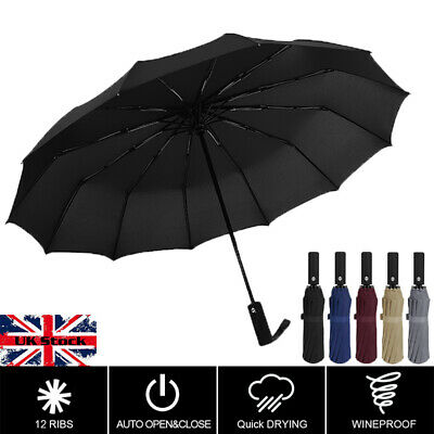 12Ribs Large Strong Frame Windproof Three Folding Fully Automatic Umbrellas UK