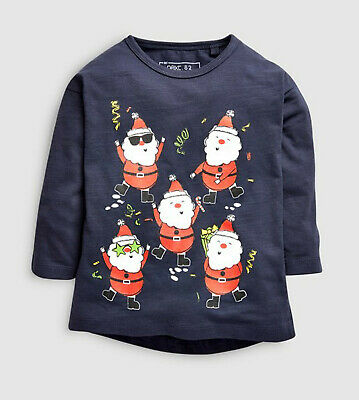 Next Boys Navy Santa Party Christmas Top T-shirt Age 12-18 Months BNWT
