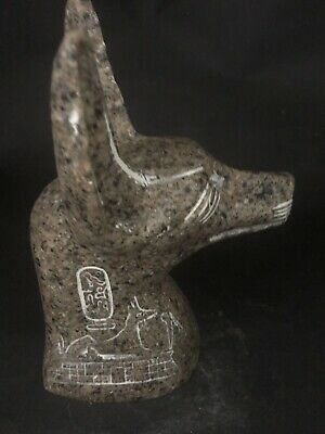 Rare Large Ancient Egyptian Granite Anubis Head (c.3100-c.2890 BC)