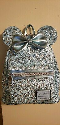 NEW Disney Parks Loungefly Minnie Mouse Arendelle Aqua Sequined Mini Backpack