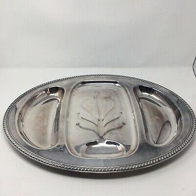 """Vintage Unmarked Silver-Plated Serving Platter 21"""" x 15"""" light tarnish 3 section"""