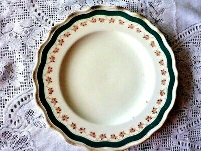 ALFRED B PEARCE ANTIQUE 23 cm PLATE PINK FLORAL GREEN BAND Rd 25 SEPTEMBER 1868