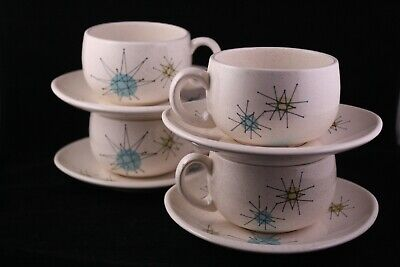 Mid Century Atomic Franciscan Starburst Tea Cups and Saucers (Set of 4)