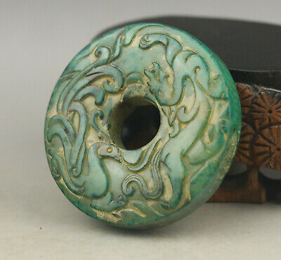 Old Chinese natural jade hand-carved dragon and phenix pendant