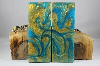 Turquoise Gold Custom Composite Knife Handle Material Blank Scales (840)
