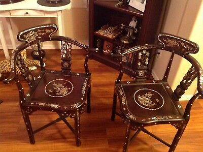 Chinese Mother of Pearl Corner Chairs