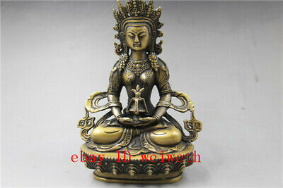 """8.4""""Old Antique Bronze Chinese Ancient Collection Brass Tibet Buddha Statue"""