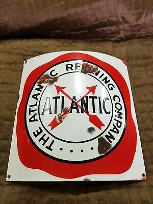 Atlantic Motor Oil Curved Porcelain Gas Pump Plate - Sign Advertising Gas...