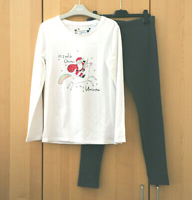 Next Girls White Christmas Top & Grey Rib Leggings Age 11 Years BNWT