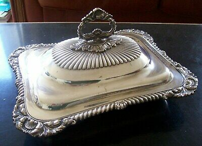 Antique, Silver Plated Three Piece Entree Dish.