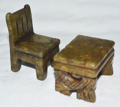 China Jade Mini Statue Hand Carved Small Furniture Model Table Chair Furnishing