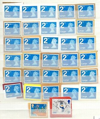 50) 60 GB Large Stamps 1st (30), 2nd (30) Unfranked On Paper As Shown FV £56.70