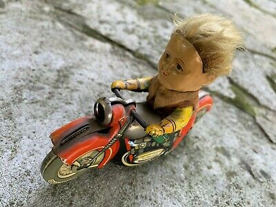 Vintage Schuco Motorcycle Mirako Peter 1013 Wind Up Tin Toy Germany Very Scarce